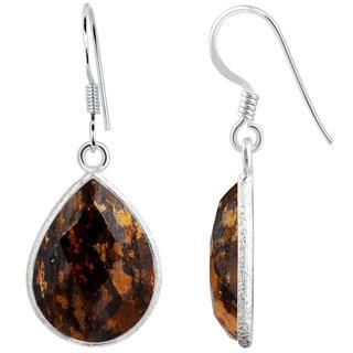 Orchid Jewelry .925 Sterling Silver 17 5/9ct. Bronzite Jasper Gemstone Drop Earrings