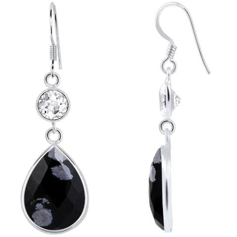 16.5 Obsidian & White Topaz 925 Sterling Silver Dangle Earrings