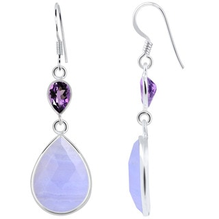 Orchid Jewelry 925 Sterling Silver 18.50ct TGW Genuine Blue Lace Agate and Amethyst Earring