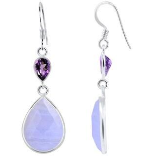 Orchid Jewelry 925 Sterling Silver 18.50 Carat Genuine Blue Lace Agate & Amethyst Earrings