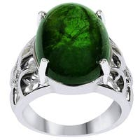 Orchid Jewelry 'One of a Kind' 925 Sterling Silver 14 1/2ct. Oval-Shape Tourmaline and Diamond Accent Ring