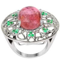 Orchid Jewelry One of A Kind 925 Sterling Silver Ring 11.68ct TGW Genuine Tourmaline & Emerald