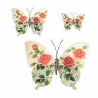 Butterflies White and Pink Set Of Three Garden Decoration