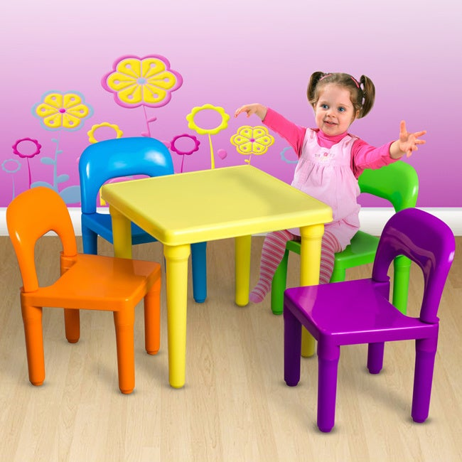 Oxgord Children's Table and Chairs Set (Multi-Color), Yellow