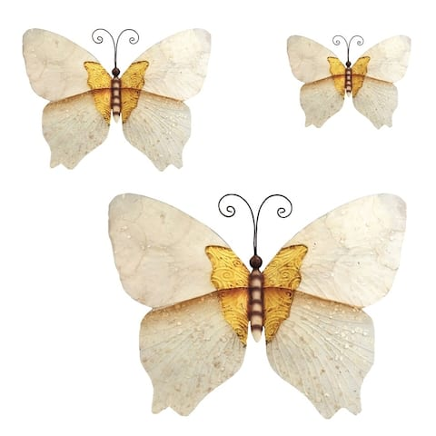 Handmade White and Gold Butterfly, Set of 3 (Philippines)