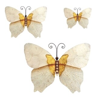 Butterflies White and Gold Set Of Three Garden Decoration