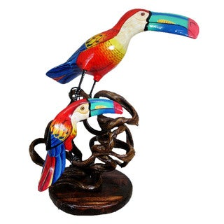Handcarved Albesia Wood Toucan and Baby Perched on Woven Branch (Indonesia)