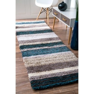 nuLOOM Handmade Striped Plush Shag Runner Rug (2'6 x 8')
