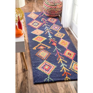 The Curated Nomad Escoltra Moroccan Diamond Navy Runner Rug