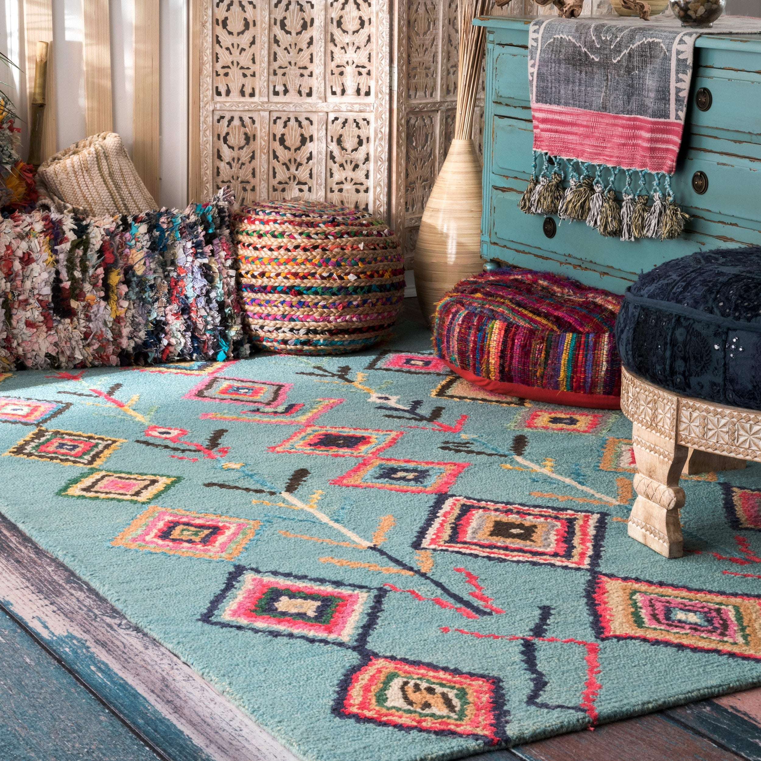Cot In A Box Morocco Turquoise: Shop NuLOOM Contemporary Handmade Wool/ Viscose Moroccan