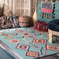 The Curated Nomad Escolta Handmade Moroccan Triangle Turquoise Area Rug - 3' x 5'