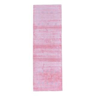 Pure Wool Runner Folk Art Loomed Pink Gabbeh Oriental Rug (2'8 x 8')