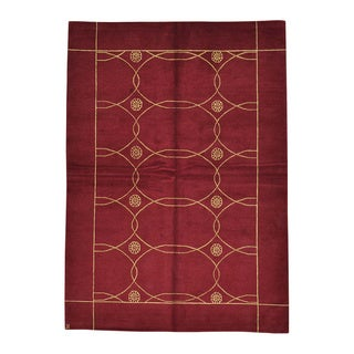 Modern Nepali Wool And Silk Hand Knotted Red Oriental Rug (5' x 7')