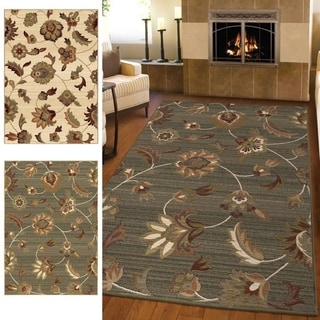 "Carolina Weavers Ornate Expressions Collection Wild Floral Vines Blue Area Rug (5'3 x 7'6) - 5'3"" x 7'6"""
