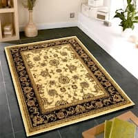LR Home Grace Ivory/Brown Plush Indoor Area Rug (8' x 10') - 7'9 x 9'6