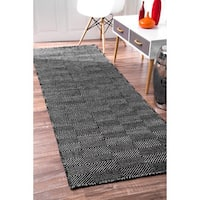 nuLoom Handmade Concentric Diamond Trellis Wool/Cotton Runner Rug
