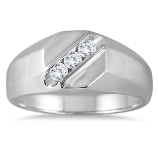 Marquee Jewels 10k White Gold Men's 1/4ct TDW 3-stone Diamond Ring