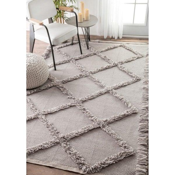 nuLOOM Handmade Fringe Trellis Wool/ Cotton Grey Rug  (7'6 x 9'6)