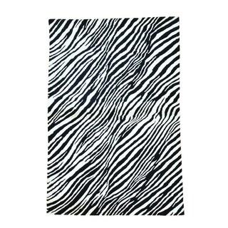 Modern Wool and Silk Zebra Design Handmade Oriental Rug (4' x 5'10)