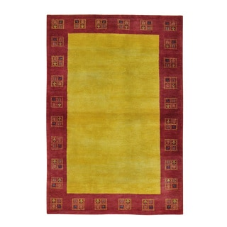 Modern Gabbeh Oriental Hand Knotted Lori Buft Pure Wool Rug (4' x 5'9)