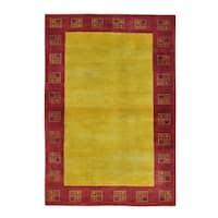 Modern Gabbeh Oriental Hand Knotted Lori Buft Pure Wool Rug - 4' x 5'9