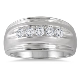 Marquee Jewels 10k White Gold Men's 1/2ct TDW 5-stone Diamond Ring (I-J, I2-I3)
