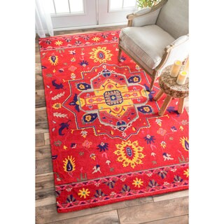nuLOOM Handmade Overdyed Persian Palace Wool Red Rug (7'6 x 9'6)