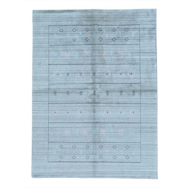 Pure Wool Loomed Gabbeh Modern Oriental Rug (5'1 x 7')