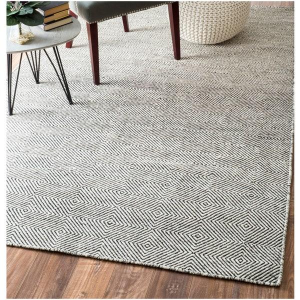 Nuloom Handmade Flatweave Concentric Diamond Trellis Wool