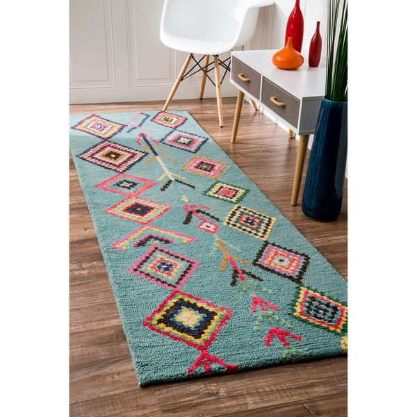 Turquoise Runner Rug: NuLOOM Contemporary Handmade Wool/ Viscose Moroccan