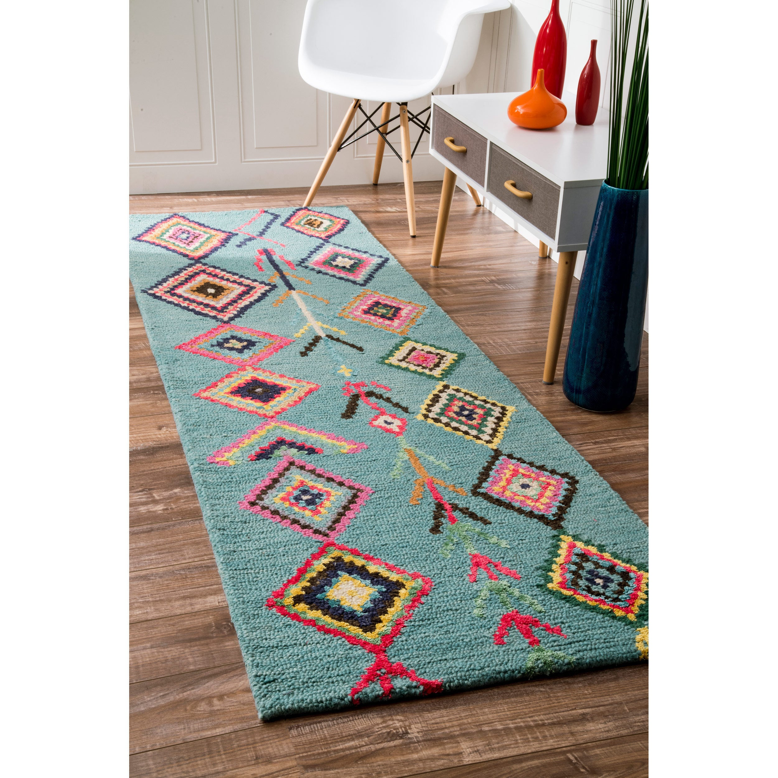 Nuloom Contemporary Handmade Wool Viscose Moroccan Triangle Turquoise Runner Rug 2 X27