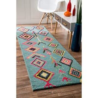 The Curated Nomad Escolta Wool/Viscose Moroccan Triangle Runner Area Rug - 2'6 x 8'