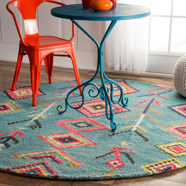 The Curated Nomad Escolta Handmade Moroccan Diamond Turquoise Area Rug (6' Round)