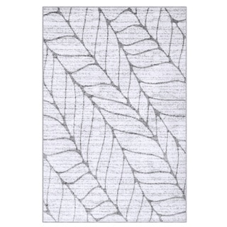 nuLOOM Contemporary Granite Abstract Leaves Grey Rug (4' x 6')