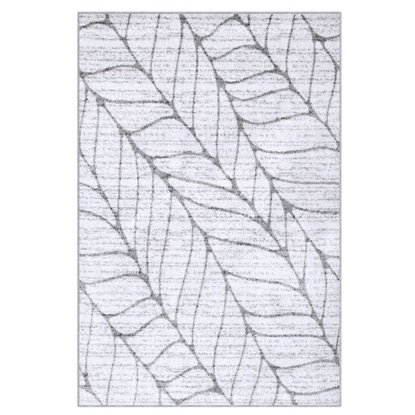 Porch & Den Williamsburg Roebling Grey Abstract Leaves Rug (4' x 6')
