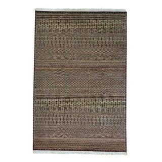 Modern Gabbeh Grass Design Pure Wool Handmade Oriental Rug (4'1 x 6'2)