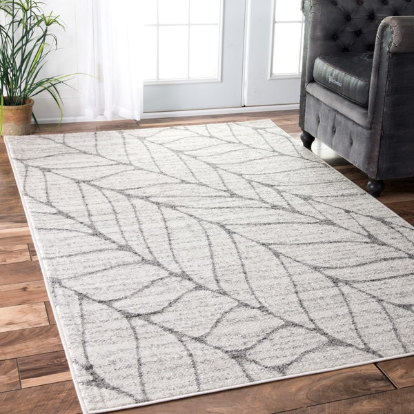 Nuloom Contemporary Granite Abstract Leaves Grey Rug 8 6