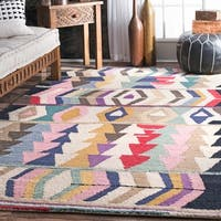 nuLOOM Handmade Tribal Arrowheads Rainbow Wool Multi Rug - 4' x 6'