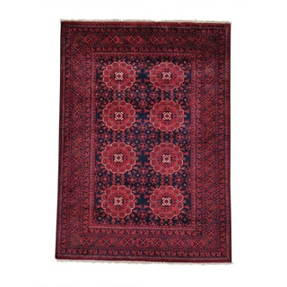Vegetable Dyes Afghan Khamyab Pure Wool Hand Knotted Rug (3'10 x 5'2)