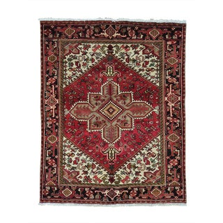 Persian Heriz Red Pure Wool Hand Knotted Oriental Rug (5' x 6')