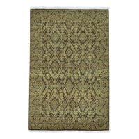 Tone on Tone Pure Wool Hand Knotted Oriental Rug (4'1 x 6'2)