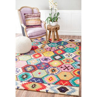 nuLOOM Handmade Southwestern Abstract Honeycomb Wool Multi Rug (4' x 6')
