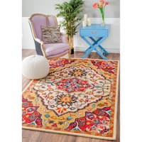 nuLOOM Handmade Native Floral Medallion Red Rug - 8'6 x 11'6