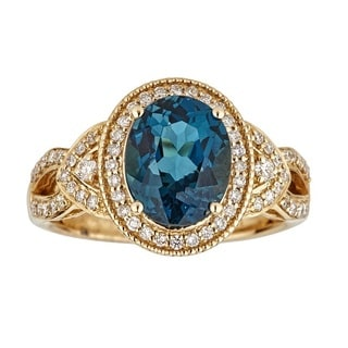 Anika and August 14k Yellow Gold Oval-cut London Blue Topaz and 2/5ct TDW Diamond Ring (G-H, I1-I2)