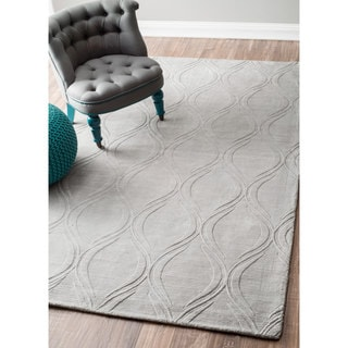 nuLOOM Hand-Woven Abstract Fancy Wool Grey Rug (8'6 x 11'6)