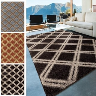 Carolina Weavers Dignified Shag Collection Jeweled Court black/gray Area Rug (7'10 x 10'10)