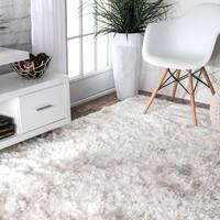 Silver Orchid Stewart Handmade Soft and Plush Silken Solid Shag White Rug - 4' x 6'
