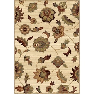 Carolina Weavers Ornate Expressions Collection Wild Floral Vines Ivory Area Rug