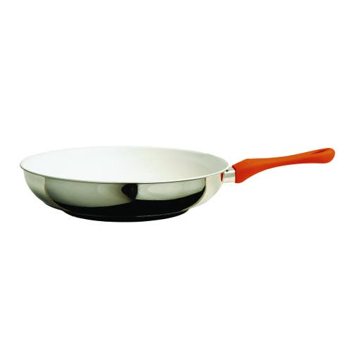Orange/Silver Eco-Ceramic Stainless Steel 12.75-inch Coated Pan