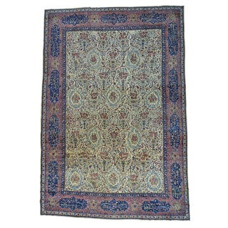 Antique Kerman with Poetry and Animals Oversize Rug (13'7 x 19'9)